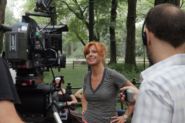 Paprika Steen on Set in Central Park. Photo by Jean Christophe Husson.