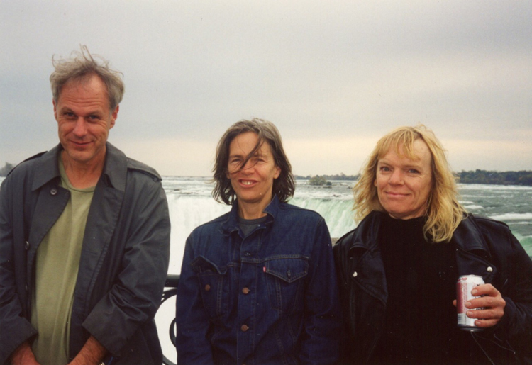 Dennis Cooper, Eileen Myles, and kari edwards at Niagra Falls, photo by Kevin Killian