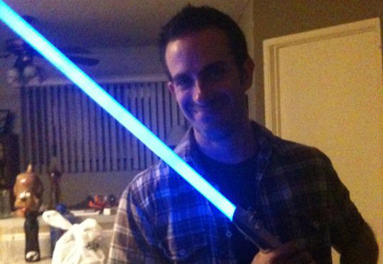 Kevin with his Light Sabre